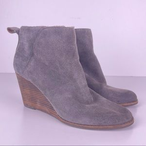 Lucky Brand Yezzah Grey Suede Leather Wedge Boots